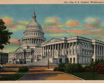 US Capitol Building Vintage Linen Postcard Washington DC United States Capitol Curteich Colortone Souvenir