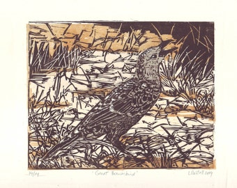 Original Woodcut of the Australian Great Bowerbird
