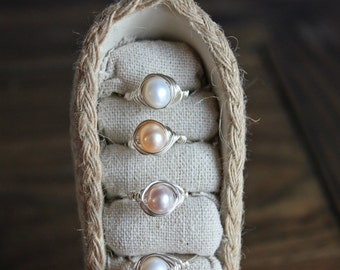 Freshwater pearl wire wrapped ring (pink, white, or purple)