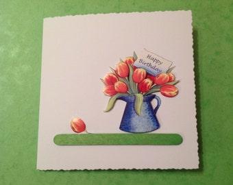 Handmade Tulips Decoupage Card