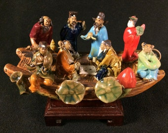Vintage Chinese Mudman Figurine Scholars Elders on Boat