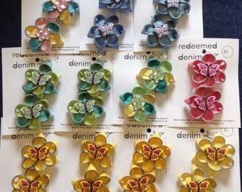Zipper mini flower hair clips-set of two