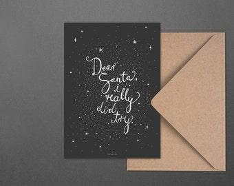 Weihnachtskarte Dear Santa No. 2 / Try, Really, Postcard, Greeting Card, Present, Christmas, Typography, Artprint