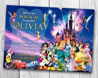 Disney Invitation - Disney Castle Invitation - Magic Kingdom Invitation - Disney Birthday Party - Disney Printables