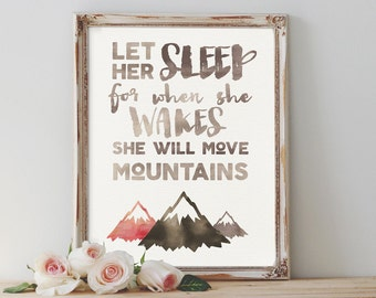 Let Her Sleep, Nursery Wall Art, Nursery Decor, Girls Nursery, Instant Download, Printable Art, Bohemian Decor, Tribal