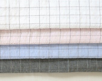 "Double Gauze Fabric by the yard Check Pattern_White, Pink, Sky, Charcoal_57"" wide SAM 147975"