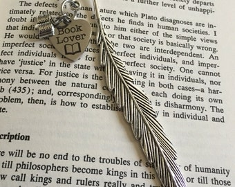 Book lover feather bookmark