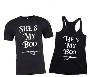 He's My Boo She's My Boo Couples Shirts. Halloween Shirt. Halloween Costume. Halloween T Shirt. Couples Costume. Couples Shirts. Halloween