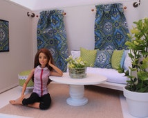 Blythe/Barbie Dollhouse- Blue/Lime Green Curtains, Pillows, Ottoman, 1:6 Scale Accessories for Dollhouse Furniture
