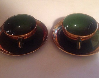 Vintage Midcentury Green O Gold Two tea/coffee Cups and Saucers, Christmas, St Patricks day, collectible