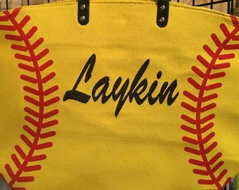 Softball, baseball, football, soccer, basketball totes customized with name, initials, team.