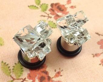 "Plugs Gauges - Crystal Cluster Plugs - 2ga (6mm), 0ga (8mm), 00ga (10mm), 7/16"" (11mm)"
