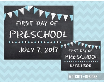 First Day of Preschool, 1st Day of Preschool, Chalkboard First Day of Preschool, First Day of Preschool Sign, Editable PDF, Instant Download