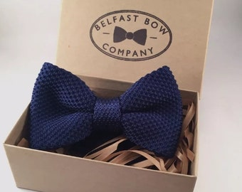 Handmade Knitted Bowtie in Navy Blue