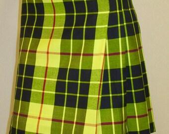 McLeod Of Lewis Tartan Plaid Kilt~Ladies MacLeod Plaid Kilt~Scottish Plaid Kilt Small to Plus Size Black Yellow Red Plaid Kilt@sohoskirts