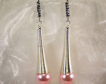 Spiral element plated earrings with silver and Pearl (OR049)