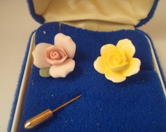 Vintage Aynsley English bone china stick pin and tie clip