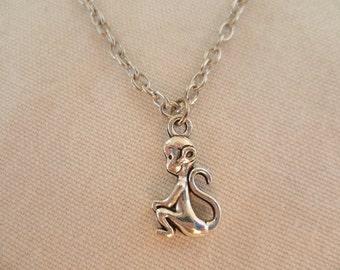 Monkey necklace,monkey pendant,monkey jewelry,silver chimp,chimp necklace,animal jewelry, charm necklace,gift,handmade,monkey jewellery