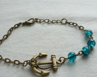 Anchor bracelet,anchor jewellery,gift,handmade,nautical jewelry,anchor charm,beaded bracelet,bronze anchor bracelet