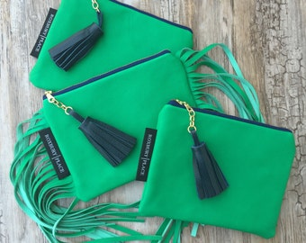 Leather Bag, Green Leather Handbag, Leather Fringe Purse, Leather Fringe Clutch, Leather Zip Pouch, Boho Fringe Bag, Tassel Clutch