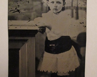 Antique Tintype Photo of Small Girl