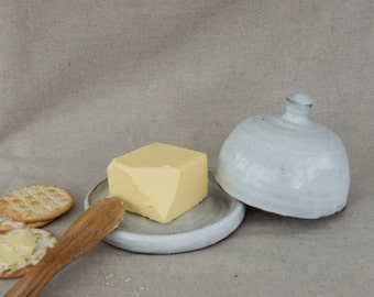 Stoneware Butter Dish in White by Clod & Pebble