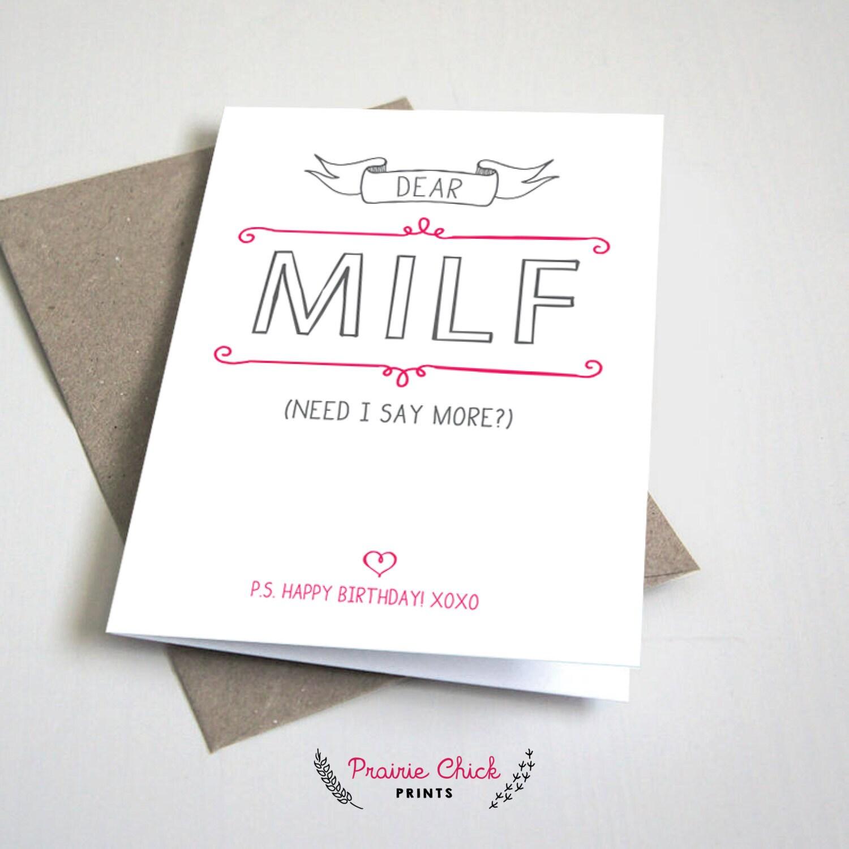 Dear MILF Birthday CARD Funny Mom or Mother girlfriend