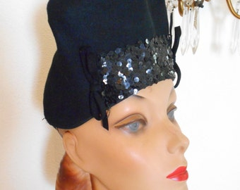 Awesome 1940's Black Felt Tilt Hat with High Crown and Sequin Accent