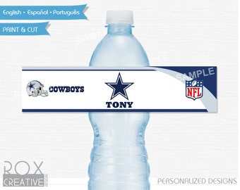 Dallas Cowboys Party Water Labels, Printable Labels, Digital – Customized
