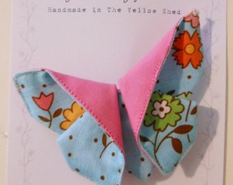Floral Origami Fabric Butterfly Brooch in Blue and Pink