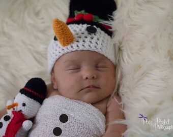 Christmas newborn Photo prop, Snowman hat and toy set, Baby Hat Christmas Baby Props Winter Boy Girl Photo Prop Hat Snowman Stuffed Toy