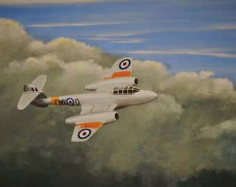 A Gloster Meteor T7 flys above stormy clouds. A limited edition giclee print from my original acrylic painting.