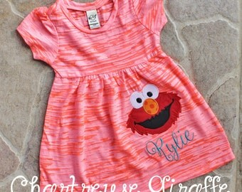 Elmo inspired Flamingo Orange Burnout Dress. Elmo Birthday dress.