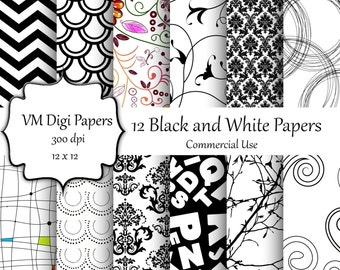 Black and White Digital Paper, Digital Paper,  Commercial Use, black and white background, paper black and white, black white patterns