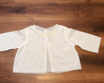 Vintage 1960s newborn diaper shirt  bay newborn cloths mid century infant shirt lace trim yellow embroidery two buttons cotton