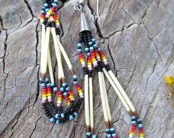 ON SALE Native American Porcupine Quill and Seed Bead Dangle Earrings