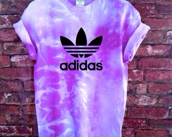 Unisex Authentic Adidas Originals Tie Dye purple T-shirt S-XXL