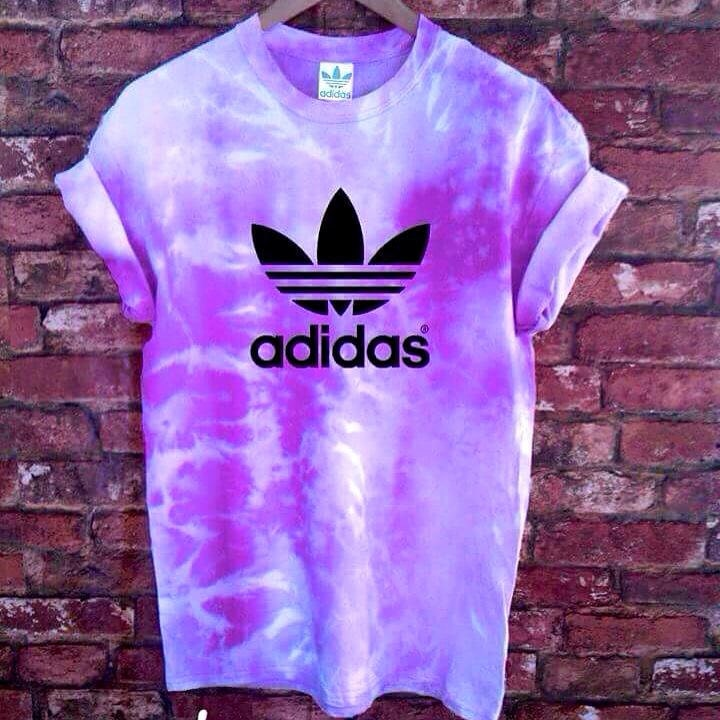 Unisex authentic adidas originals tie dye purple t shirt s xxl for Nike tie dye shirt and shorts