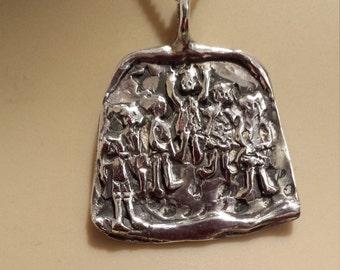 Sterling silver vintage artist pendant