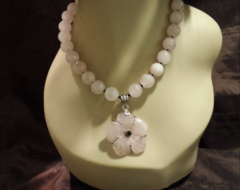 Rose quartz faceted necklace with sterling silver rose quartz pendant