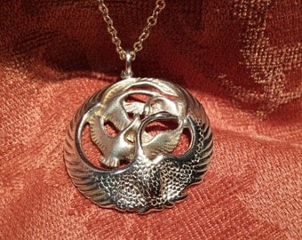 Sterling silver geese pendant with sterling silver chain