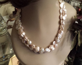 Freshwater coin pearl three strand necklace