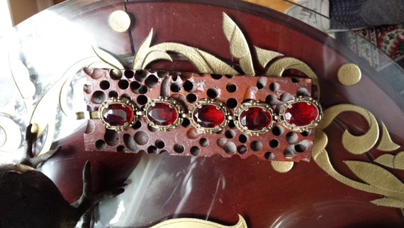 Vintage ruby faceted glass decorative gold framed