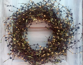 Burgundy, Black and Cream Pip Berry Wreath, Country Wreath, Rustic Wreath, Fall Wreath, Front Door Wreath, Primitive Wreath, Free Shipping