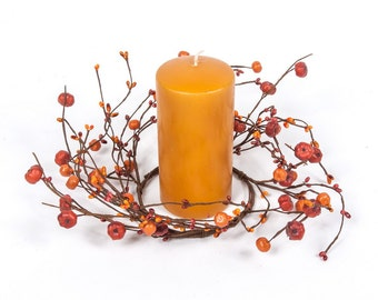 Fall Candle Rings with Pip Berries and Baby Pumpkins - Fall Wreath - Fall Centerpiece with Baby Pumpkins- Pumpkin Decor -Free Shipping