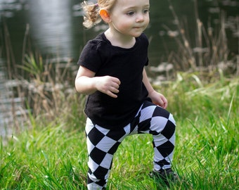 Harlequin Black and White Baby Leggings Baby Boy Leggings Baby Girl Leggings Toddler Leggings Baby Pants