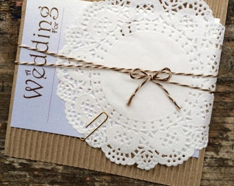 Fill in Wedding Invitations- 20 Rustic Doily and Twine Corrugated Invites