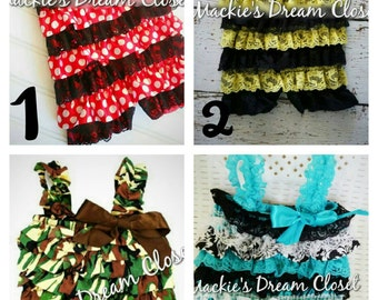 Baby girl toddler romper ruffle pant red white polka dot minnie green camo black damask yellow lace bumblebee satin birthday party dress up