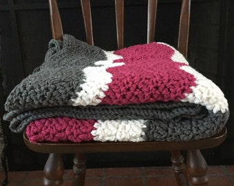 Chunky Chevron Acrylic Thick Crochet Afghan Blanket Throw White Pink Gray Grey Raspberry