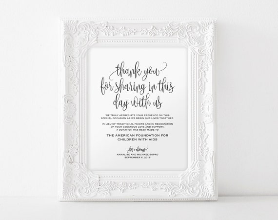 Wedding Gift List Wording Charity : In lieu of wedding favors Sign, Wedding Donation Sign, Charity ...